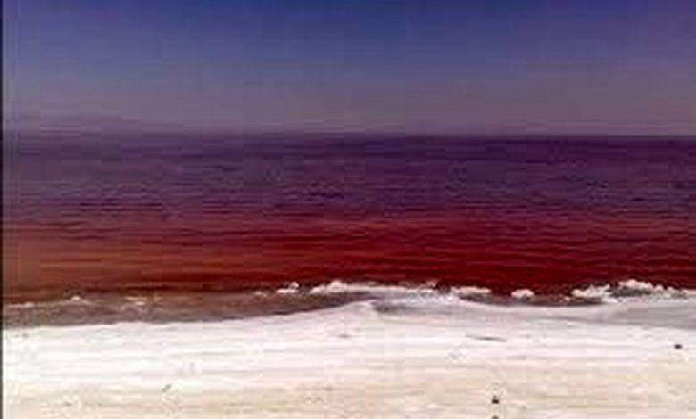 دریاچه نمک قم برای اولین بار سرخ شد